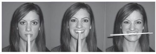 three different poses of a person with a chopstick in her mouth to simulate a smile